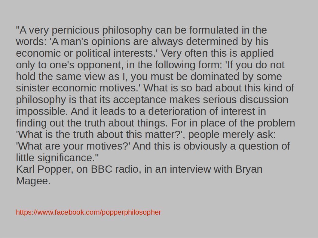 Karl Popper on Ad Hominem