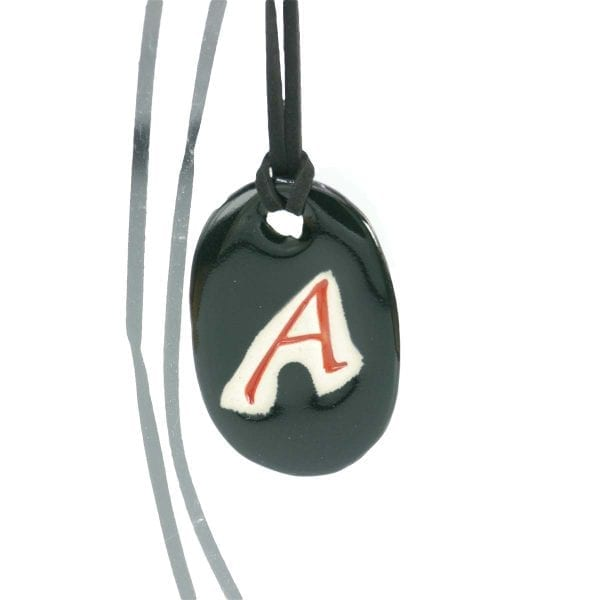 Scarlet Letter A Ceramic Necklace - black