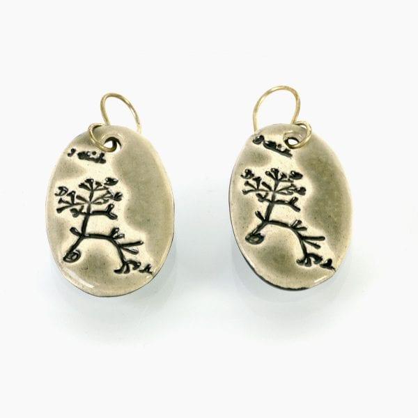 Darwin Tree of Life ceramic earrings - grey