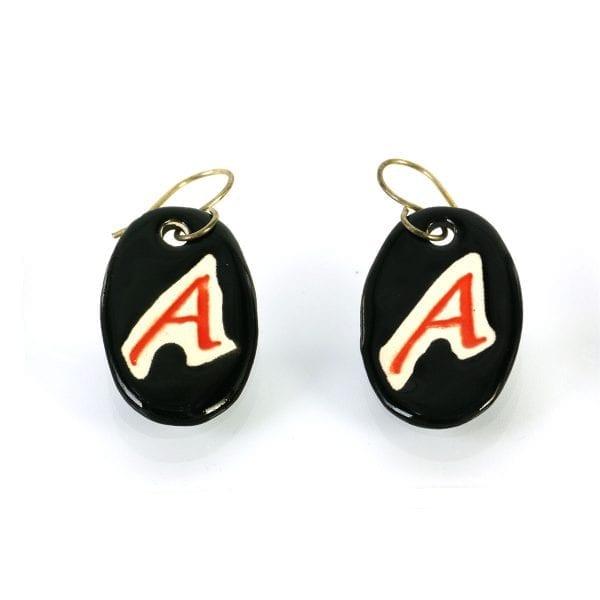 Scarlet Letter A ceramic earrings - black