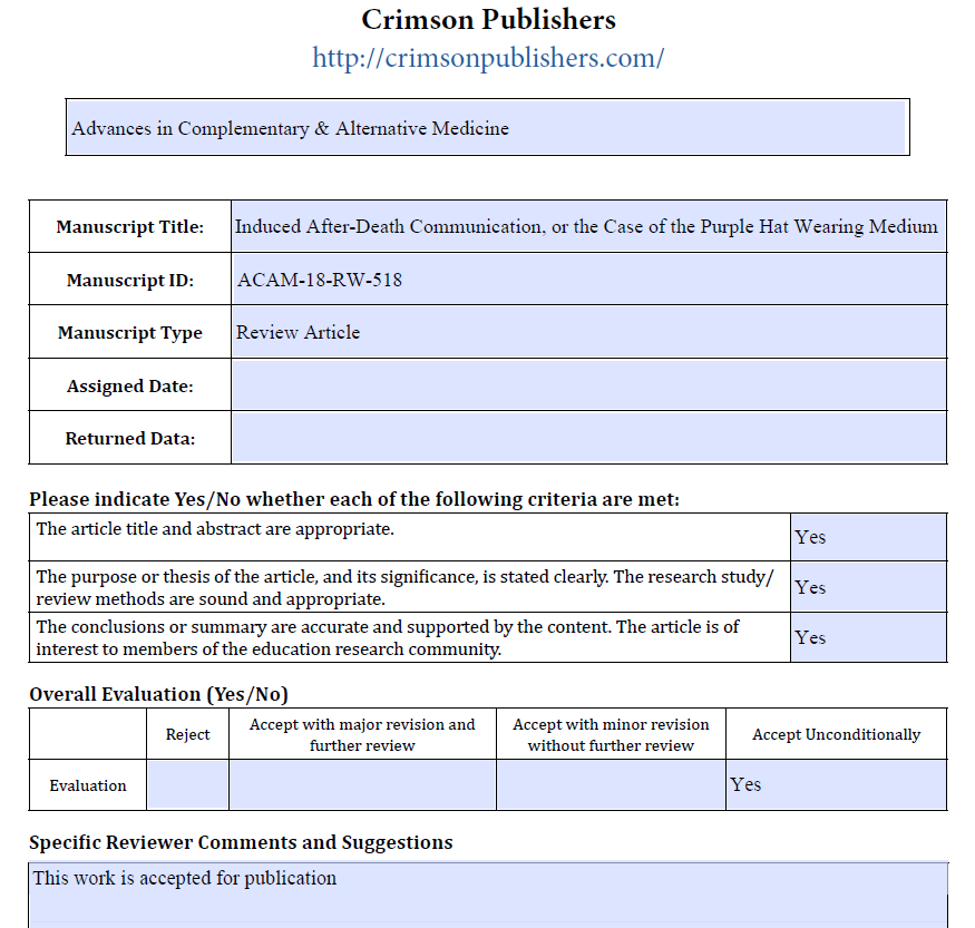 Crimson Publishers Peer Review