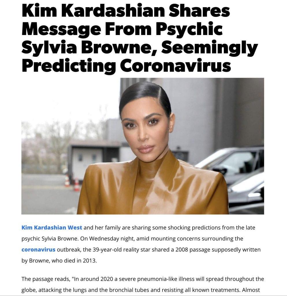 "About Sylvia Browne Prediction ""End of Days"" by Kim Kardashian"