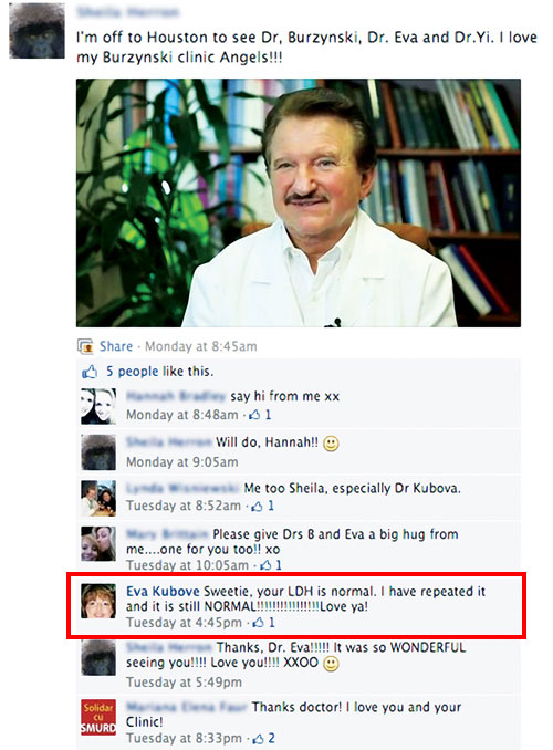 screenshot from the Burzynski Patient Group's Facebook page