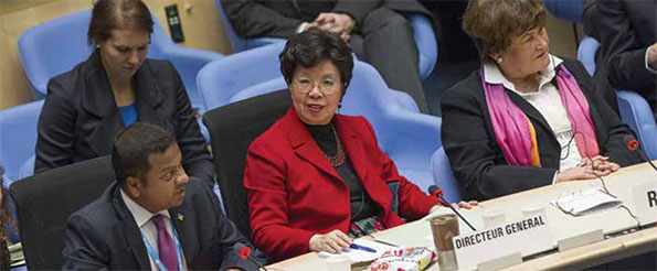 Margaret Chan, director-general of the World Health Organization attending a meeting with others