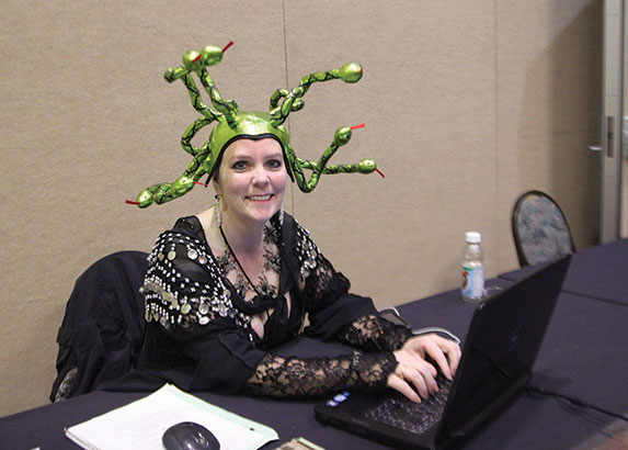 Susan with a hat of snakes on her head