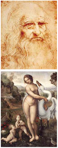 Leonardo and his Virgin of the Rocks painting.