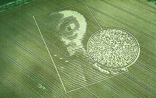 crop circle with stereotypical alien