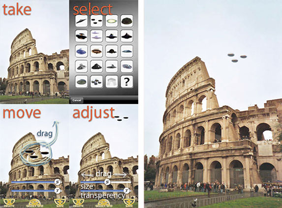 screenshots of UFO app in use and the finished UFO photo